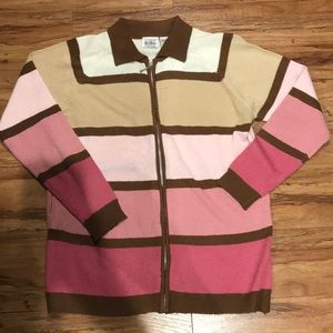 Pink and brown zippered sweater